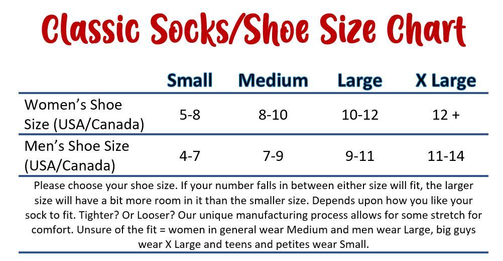 sock/shoe size charts