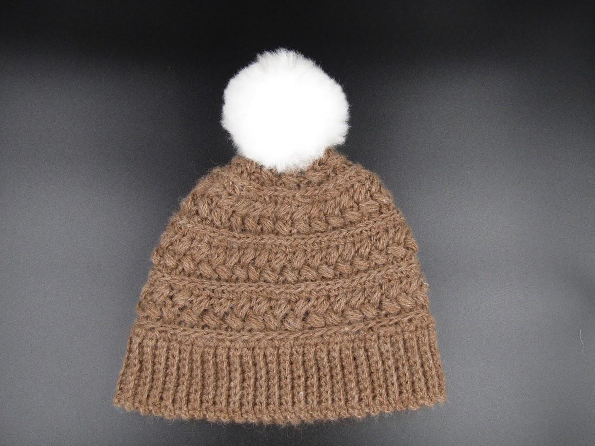 Alpaca Pouf Ball Cap - Brown